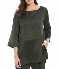 Eileen Fisher Womens Green Silk Blend Bateau Neck Blouse Top Shirt XS BHFO 7772