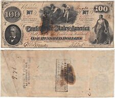 1862 $100 Confederate States Note T-41 Cr-319a Negroes Hoe Cotton