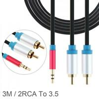3M Cable HiFi Stereo 2RCA to 3.5MM Audio Cable for Amplifier Home Theater