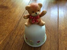 Enesco Lucy & Me bear figurine ,bear on a bell,flowers, bell ringing 5'
