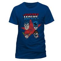 Official Justice League Comic Four Faces T-shirt Flash Superman Batman New DC