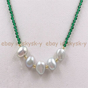 Natural 3mm Faceted Green Emerald & 5 Pcs 7-8mm Gray Baroque Pearl Necklace 18''