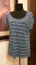 Michael Kors small blouse blue short sleeve shirt geometric print top