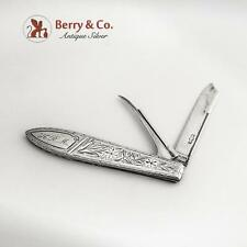 Folding Fruit Knife and Pick Gorham Engraved 1870 Sterling Silver HRM Monogram