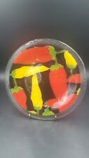 """Peggy Karr Fused Glass Art Hot Peppers Yellow & Red 8"""" Plate"""