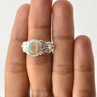 Valentine Gift Ethiopian Opal Handmade Jewelry Solid Sterling Silver Ring Size 7