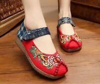 Retro Women's Ethnic Embroidered Comfy Round Toe Ankle Strap Flats Loafers Shoes