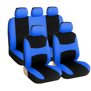 9Pcs Car Seat Cover Black+Blue Polyester Full Set Cushion Interior Accessories