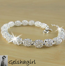 925 Sterling Silver Jewellery Prom Hollow CharmChain Bracelet Bangle UK Seller