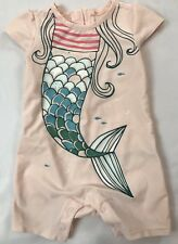 2017 Baby Gap Girls Size 12-18 Months Pink Mermaid Decal One-piece Swimsuit
