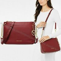 NWT🍷MICHAEL KORS LILLIE LARGE Leather Messenger Bag Chain BRANDY Dk Red Gold