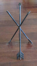 "Vintage Black Wrought Iron Metal Crossed Arrows Table Plant Stand Base 19"" Tall"