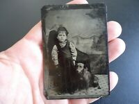 Antique Tintype Photograph of a Girl and Her Dog