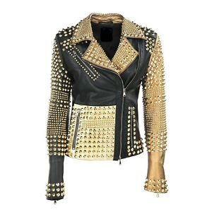 Handmade Women's Black Leather & Gold Leather Silver Studded Punk Style Jacket