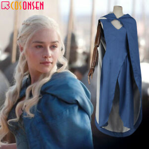 Game of Thrones Daenerys Targaryen Blue Dress Cosplay Costume Halloween Outfits