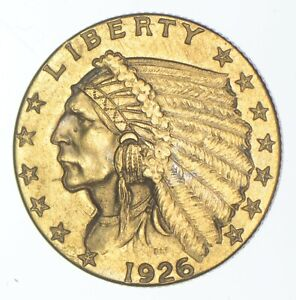 $2.50 United States 90% US Gold Coin - 1926 Indian - No Reserve *987