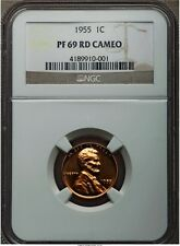 1955 LINCOLN WHEAT CENT PENNY 1C NGC PF69 PR69 RD CAMEO, FINEST KNOWN!