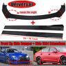 Universal Black Car Front Bumper Protector Lip Spoiler Splitter + 2M Side Skirt