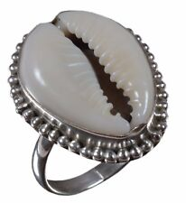 925 Sterling Silver Natural Sea Shell Beads Cowry Tribal Ring US Size JR14