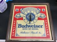 Vintage Budweiser Clock - King Of Beers Bar Light Up Bar Clock WORKING MAN CAVE
