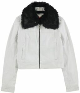 The Mighty Company Womens Lincoln Box Collar Leather Jacket, White, Medium