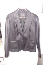 JOHN PAUL RICHARDS  womens black LEATHER jacket size 12 BUTTONS EX-CO Looki-C