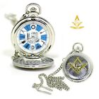 Masonic Square and Compasses Symbols Mason Pocket Watch Freemasons Silver Finish