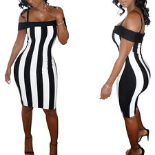 M Womens Cold Shoulder Short Sleeves Black White Vertical Striped Bodycon Dress