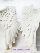 Angel Wings Set of 2 Wall Sculpture White Glitter Wall Decoration Shabby Chic