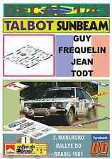 DECAL 1/43 TALBOT SUNBEAM LOTUS G.FREQUELIN R.DO BRASIL 1981 2nd (01)