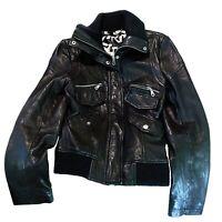 DKNY Donna Karan New York Women's Black Genuine Leather Jacket Size Small
