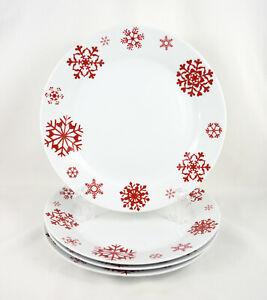 "Set of 4 St Nicholas Square Yuletide Red Snowflake 10.5"" Dinner Plates"