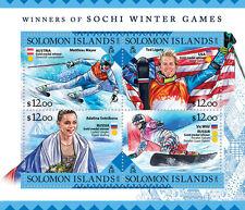 Solomon Islands 2016 MNH Sochi Winter Games Medal Winners 4v M/S Olympics Stamps