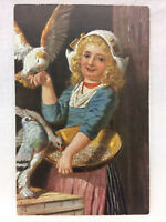 Vtg Dutch Girl Post Card Holland Kids postcard Traditional Feeding Birds