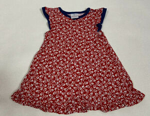 Hanna Andersson Dress 70 Red White Navy Blue Floral Ruffled Shirt Sleeve