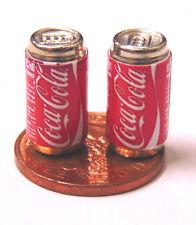 1:12 Scale 2 Empty Coca Cola Coke Drink Cans Dolls House Miniature Pub Bar Drink
