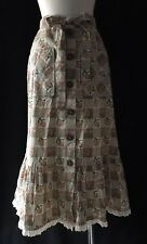 Vintage 70's Hippy Peasant Skirt Boho Prarie Ruffles Pockets Gypsy Button Up