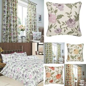 FELICITY FLORAL 100% COTTON CURTAINS / DOOR CURTAINS LINED