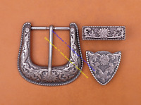 "Western Rodeo Floral Engraved Antique Belt Buckle Set 3pcs Fits 1"" Wide Straps"
