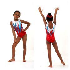 Red Turquoise Girls gymnastics leotard Size 40 - AXL