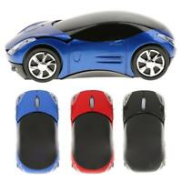2.4G Wireless Mouse Mice Optical 1600DPI 3Button USB Light Car Shape for PC Blue