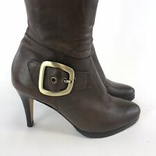 Buffalo London Size 38 US7 UK5 Brown Leather Knee High Zip Up Sexy Booties Boots