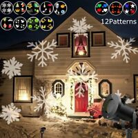 Outdoor Moving Snowflake LED Laser Light Projector Xmas Garden Lamp 12 Patterns