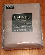 Ralph Lauren Queen Sheets Set Stafford 350TC Dark Silver Gray 100% Cotton NEW