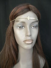 NEW WOMEN GOLD METAL CROSS HEAD BAND CHAIN GRECIAN CIRCLET FASHION JEWELRY