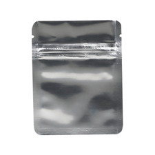 Small Multi Purpose High Quality Zip Lock Mylar Bags - Solid Silver (50PCS)