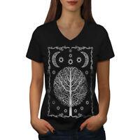 Wellcoda Ornament Life Tree Womens V-Neck T-shirt, Night Graphic Design Tee