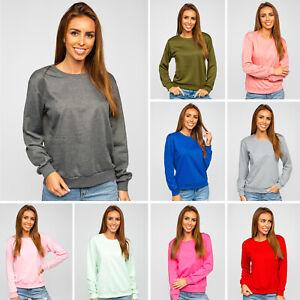 Pullover Sweatshirt Pulli Classic Rundhals Basic Sport Damen BOLF Unifarben