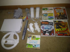 Nintendo Wii System Bundle 5 Games, 2 controllers, wheel, all original cords