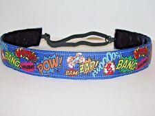 Super Hero POW BANG Nonslip Headband adjustable Sweaty Sports Hair Bands Royal